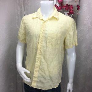 J.Crew men's shirt 100% linen yellow button down